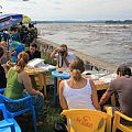 Pizza lunch next to the mighty Congo River
