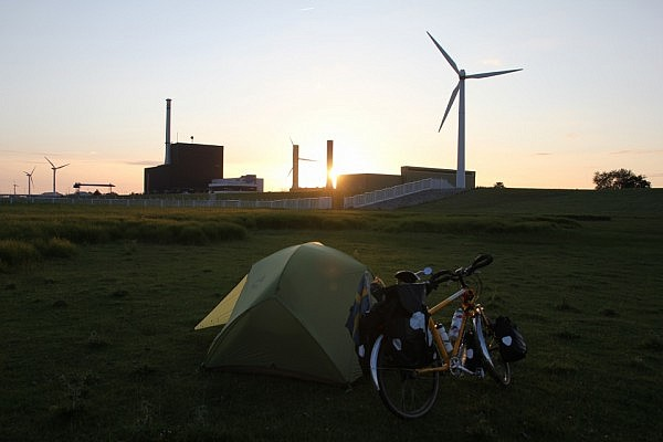 Camping in front of a nuclear power plant