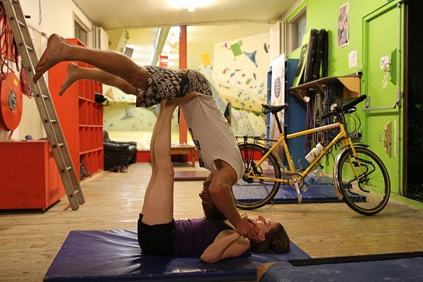 Two-person yoga stretching