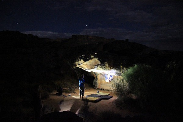 Night bouldering session in Rocklands
