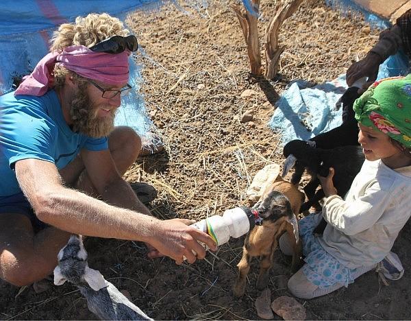 Feeding goat kids