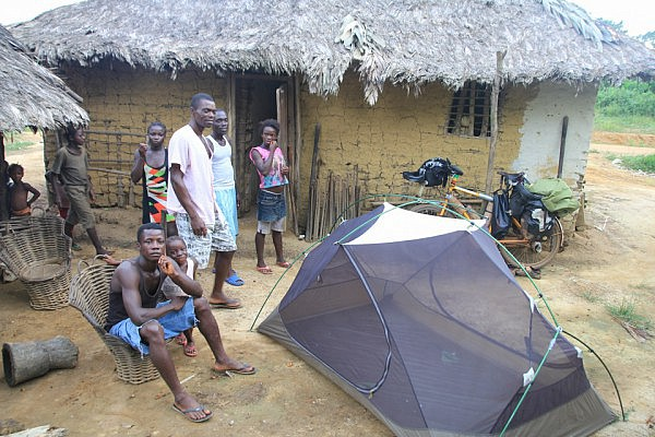 Camping in a village